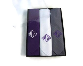 Monogrammed Handkerchief. Mens Handkerchief. Mens Monogrammed Handkerchiefs. Personalized Handkerchief. Assorted Solids Purple
