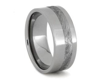 Meteorite Ring Titanium Wedding Ring Inlaid with a pinstripe of Gibeon Meteorite; Custom Personalized Wedding Band