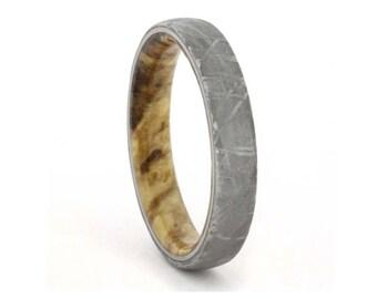Wood Ring, Meteorite Wedding Band With Black Ash Burl, Wedding Anniversary Ring