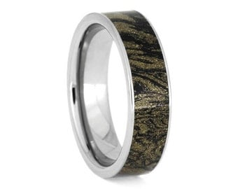 Black and Gold Composite Mokume Gane Wedding Band, Titanium Ring, Handmade Manly Ring