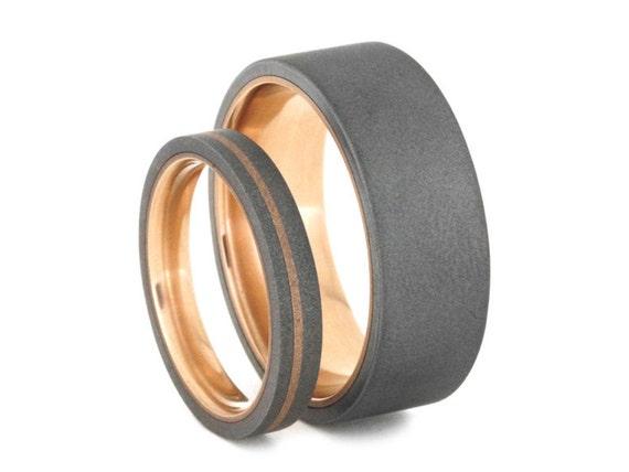 14k Rose Gold Wedding Band Set Sandblasted Titanium Rings