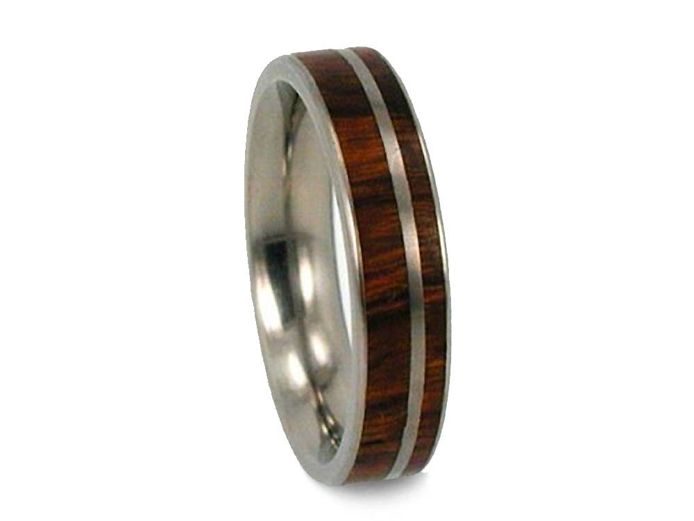 wooden wedding band or promise ring thin ironwood band ring