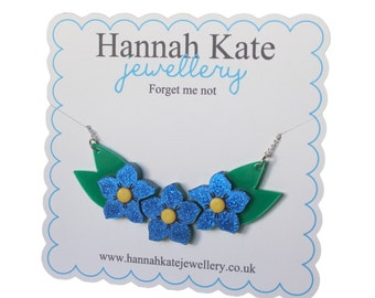 Acrylic Forget Me Not Necklace