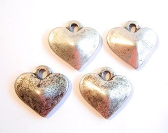 4 or 2 Pairs of Antique Silver-tone Heart Charms