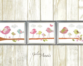 Birds Nursery art baby nursery decor nursery wall art nursery bird kids art baby art Set of 3 Prints -  Les Oiseaux by GalerieAnais