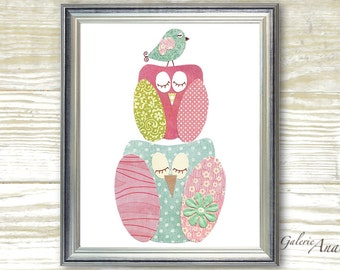 Nursery art prints - baby nursery decor -  children room decor - nursery wall art - baby room decor - Owl - Bird - A Quiet Day print