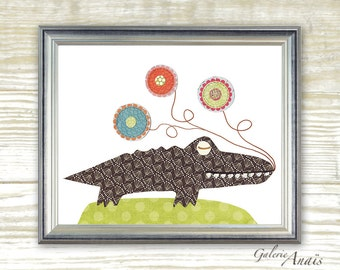 Nursery art print - nursery decor - baby nursery print - kids art - kids room decor - nursery wall art - Crocodile - Yoyo Fun print