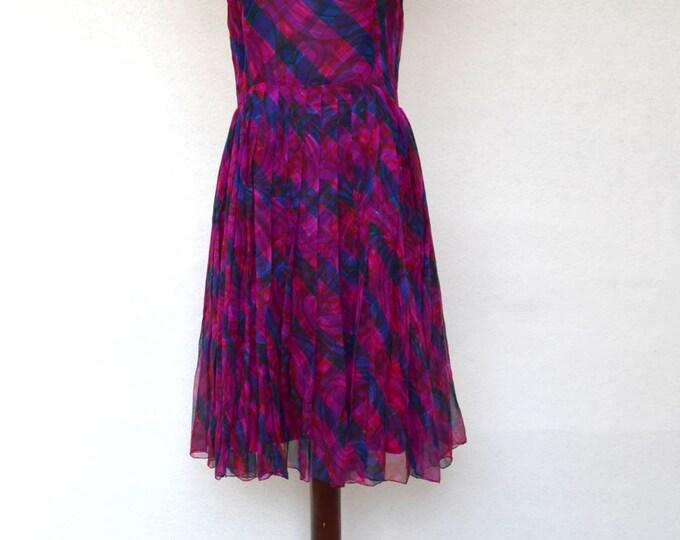 1960's Painterly Print CHIFFON PLEATED COWL neck Dress. Size medium