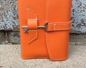 Bright orange refillable leather journal / sketchbook / notebook