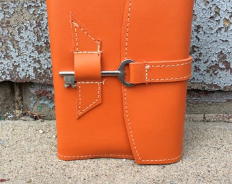 Reserved for laura Bright orange refillable leather journal / sketchbook / notebook