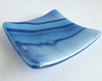 Fused Glass Ring Dish in Blue Streaky Glass