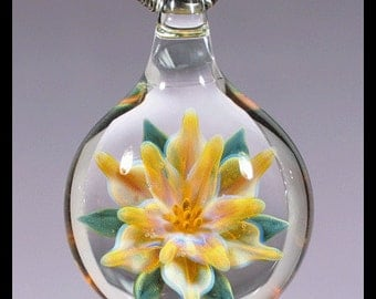 Glass Flower Pendant boro lampwork necklace focal Glass Peace glass jewelry (4-8)