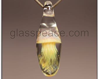 Glass Jellyfish Pendant - boro lampwork focal - Glass Peace glass jewelry