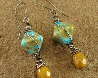Picture Jasper and Turquoise Raku Lampwork Sterling Silver Dangle Earrings