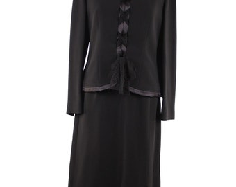 GIORGIO GRATI Vintage Black Viscose SUIT Jacket and Skirt w/ laces size 42