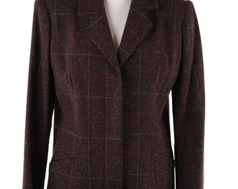 COCO Made in Italy VINTAGE Brown CHECKERED Wool Blend blazer jacket size 42