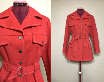 vintage red JCPenny trench coat. red trech coat. size 12