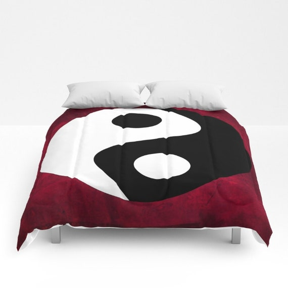 Yin and Yang Comforter, Red Decorative bedding, Zen Decor, Chinese Symbol bedding, Buddhism Decor, Spirit Mind, Buddhist Symbol, Zen, Dorm