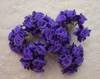 36 pc Rosette Rose Wired Flowers PURPLE Organza Satin Ribbon w Pips Bridal Bouquet Hair Bow Accessory