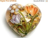 ON SALE 40% OFF 11815025 Antique Garden Heart (Large) - Handmade Glass Lampwork Bead