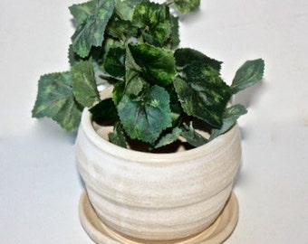 Ceramic Stoneware Planter Hand thrown Mat White  for  Houseplants , Succulents, Cactus with built in drainage tray