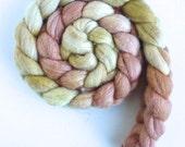 Merino/ Superwash Merino/ Silk Roving (Top) - Handpainted Spinning or Felting Fiber, Copper and Gold
