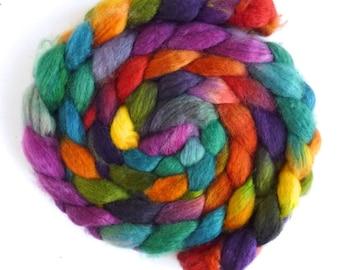 Superwash BFL Wool Roving - Hand Painted Spinning or Felting Fiber, Tropical Harmony