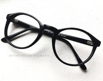 70's Oversized Round Panto NOS Barrel Hinge Hornrim Eyeglass Frames Vintage Prescription Eyewear