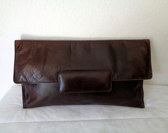 Harrods London thick  buttery  leather ex large ,opulent clutch ,pocketbook, purse  deep brown vintage 70s extremely  rare N MINT condition