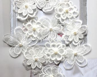 Lot Of 20 Mix Off White Organza Flower Floral Cocktail Wedding Dress Gown Faux Pearl Hair Craft Sew On Appliques Embellishment Decorations