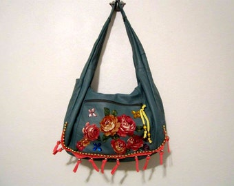 Large Leather Bag Hand Embellished Bag  Folk Bohemian Style  OOAK
