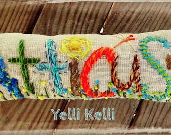 Freehand Embroidered Bohemian SEVEN Letters Name Pillow Custom Made