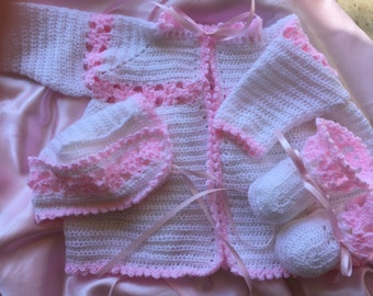 Crochet baby sweater, crochet baby bonnet, crochet baby booties, six to one year old baby sweater, christening set, christening sweater