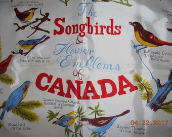 Beautiful Vintage Scarf The Songbirds and Flower Emblems of Canada