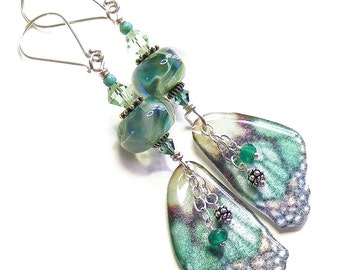 Ethereal Greenery Butterfly Wing Earrings, Unique Handcrafted OOAK (One of a Kind) Lampwork Glass & Resin Nature Jewellery