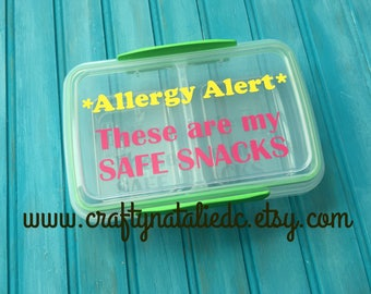 Food Allergy Divided Snack Container- Safe Snack Container- Food Allergy Alert- Pink and Yellow Vinyl