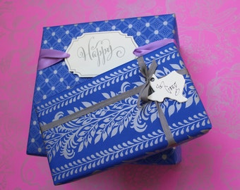 Tamed Vines Gift Wrap - Blue or Orchid with Silver Ink (wrapping paper)