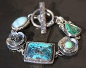 RESERVED for Mendy oOo azurite, malachite, veriscite, larimar, and sterling silver metalwork link bracelet