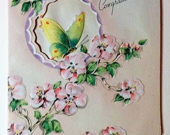 Vintage Congratulations Greeting Card NOS 1940s with Envelope