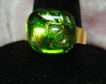 Green Handmade Fused Dichroic Glass Cab Ring - R152