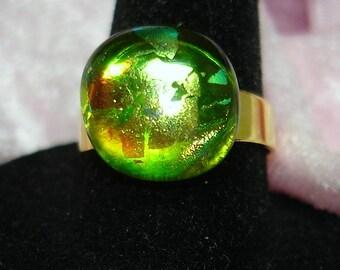 Green Handmade Fused Dichroic Glass Cab Ring - R159