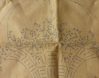 Antique To Be Embroidered 19 by 16Inch Pillow Blank  with a Basket of Flowers By JBK  New Old Stock