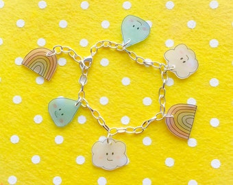 Kawaii April showers charm bracelet in pastel - rainbow, cloud and raindrop