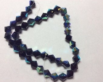 Glass Beads 8mm Iridescent Black