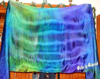 "Sahariah's Silk Belly Dance Veil Rectangle original ""Killer Silk"" 3 Yard Rectangle Veil Tribal Streaks Markings"