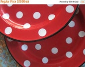 ON SALE 2 Vintage Enamel Spotty Plates