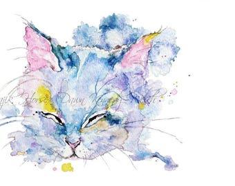 Cat Art, Kitten Art, Kitten Cat Print, Art Print, Watercolor Print, Watercolor Painting, Cat Painting, Home Decor, Animal Art, Majik Horse