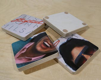 Ronnie Milsap handmade wood coasters and vinyl bowl created from recycled Keyed Up record album