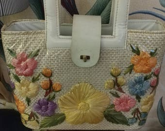 1950-1960 Plastic Cover Purse with Flowers