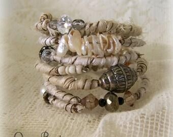 Boho Gypsy Bangle Bracelet Stack Wire Wrapped Bracelets Vintage Gypsy Bracelet Tribal Stack Tribal Bracelets  Vintage White Wedding